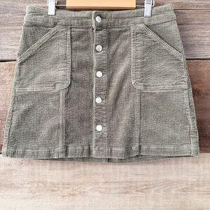 Wild Fable Olive Green Corduroy Button Mini Skirt